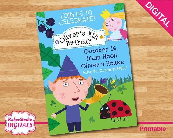 Digital ben and holly personalized birthday party invitation for a digital ben and holly personalized birthday party invitation for a boy print yourself or send stopboris Images