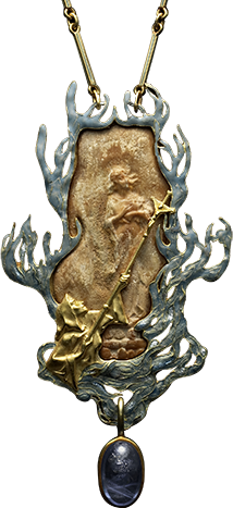 Lalique  1900 'Joan of Ark' Pendant: enameled gold rectangular pendant enclosing a gold relief representing Joan of Ark burnt at the stake, with a man below holding up a crucifix, framed by flames to every side, sapphire hanging below