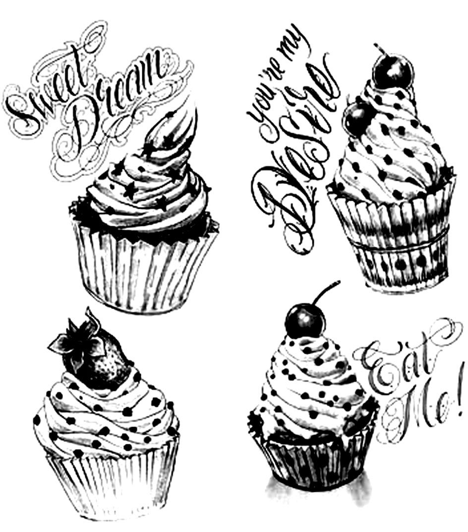 Free coloring page «coloring-adult-cupcakes-vintage». 4 Cupcakes ...