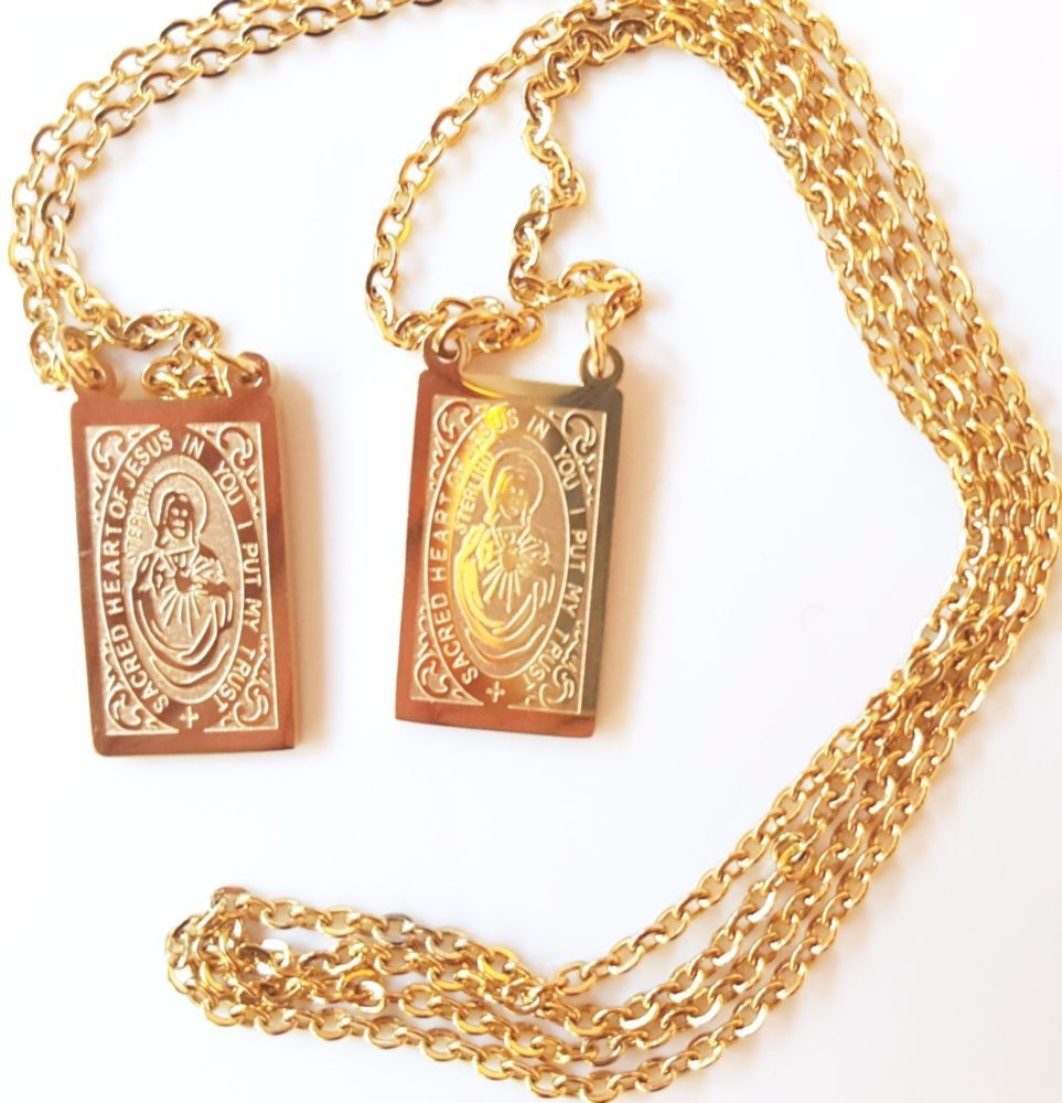 e72c68ee990 Find many great new & used options and get the best deals for Colorful Protection  St Benedict Medal Necklace 18k Gold Plated Vintage Antique. at the best ...