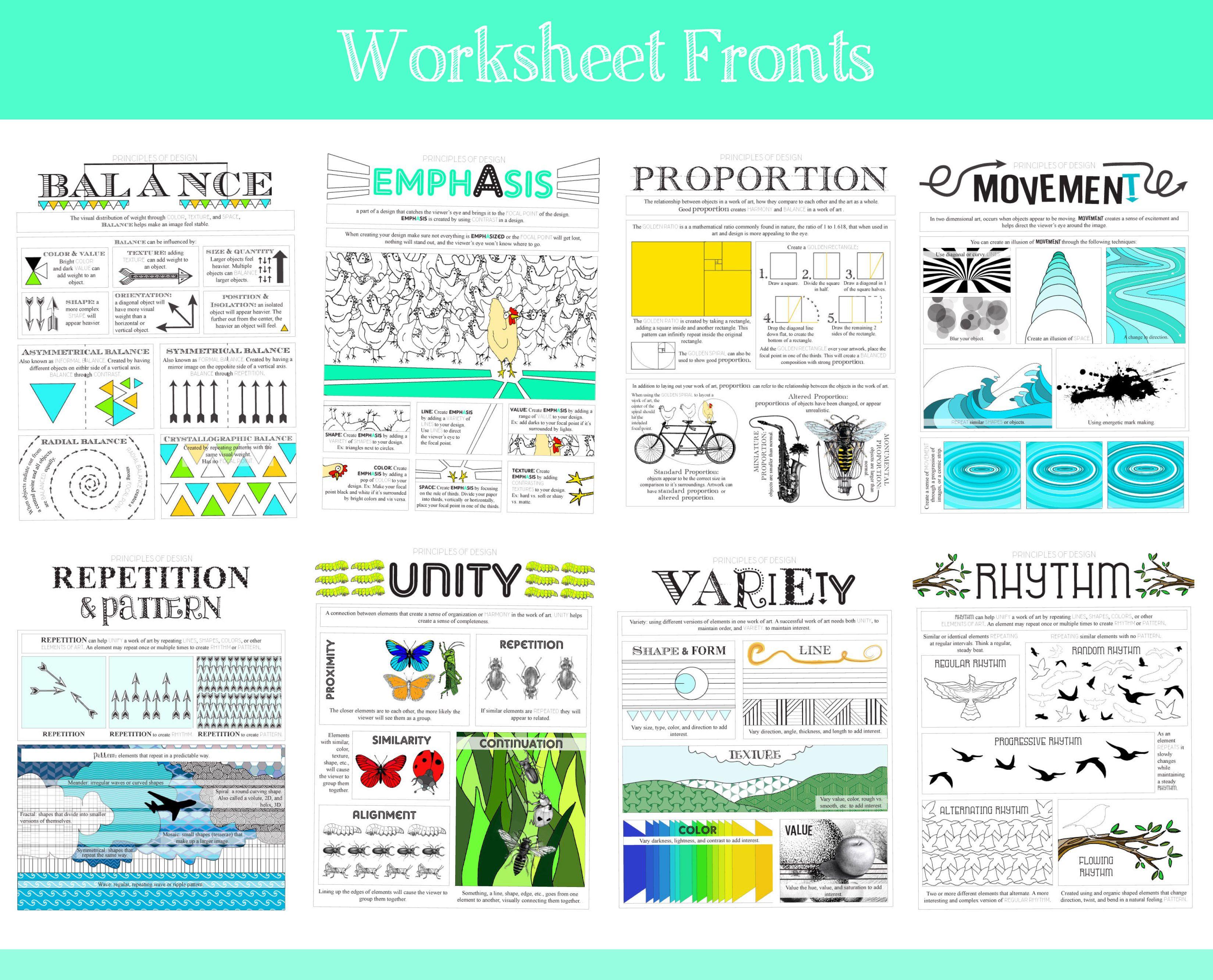 Principles Of Design Worksheets Front