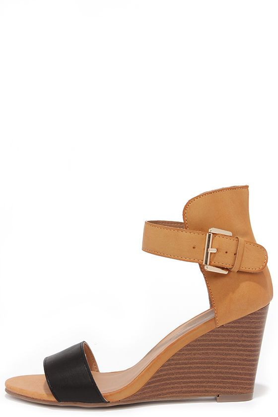 38f5904181e Sleek Show Black and Tan Wedges in 2019 | AVE STYLES PERSONAL FAVES ...