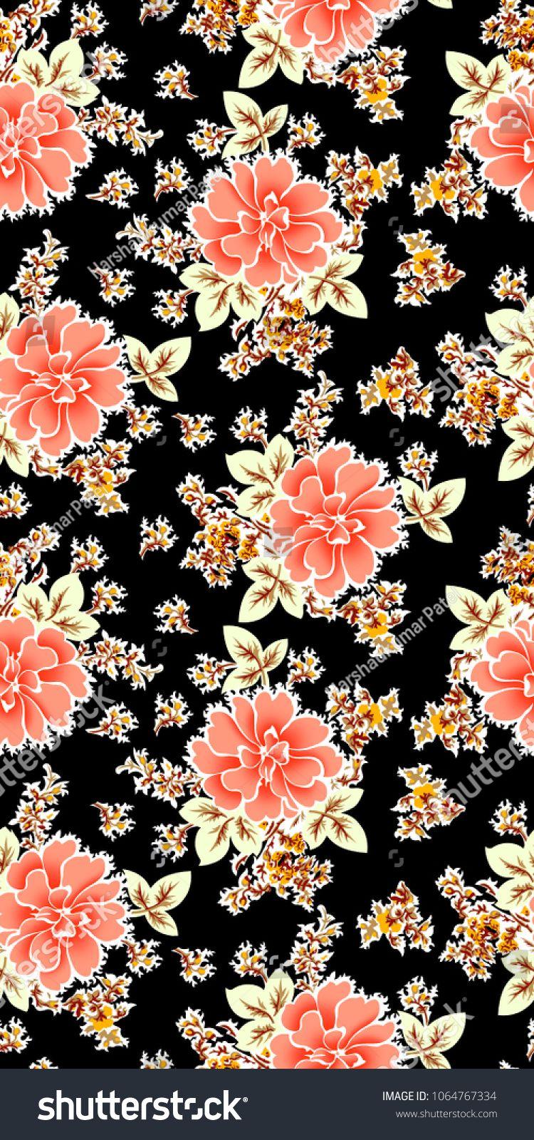 Flower Pattern Black Background Fondos De Pantalla