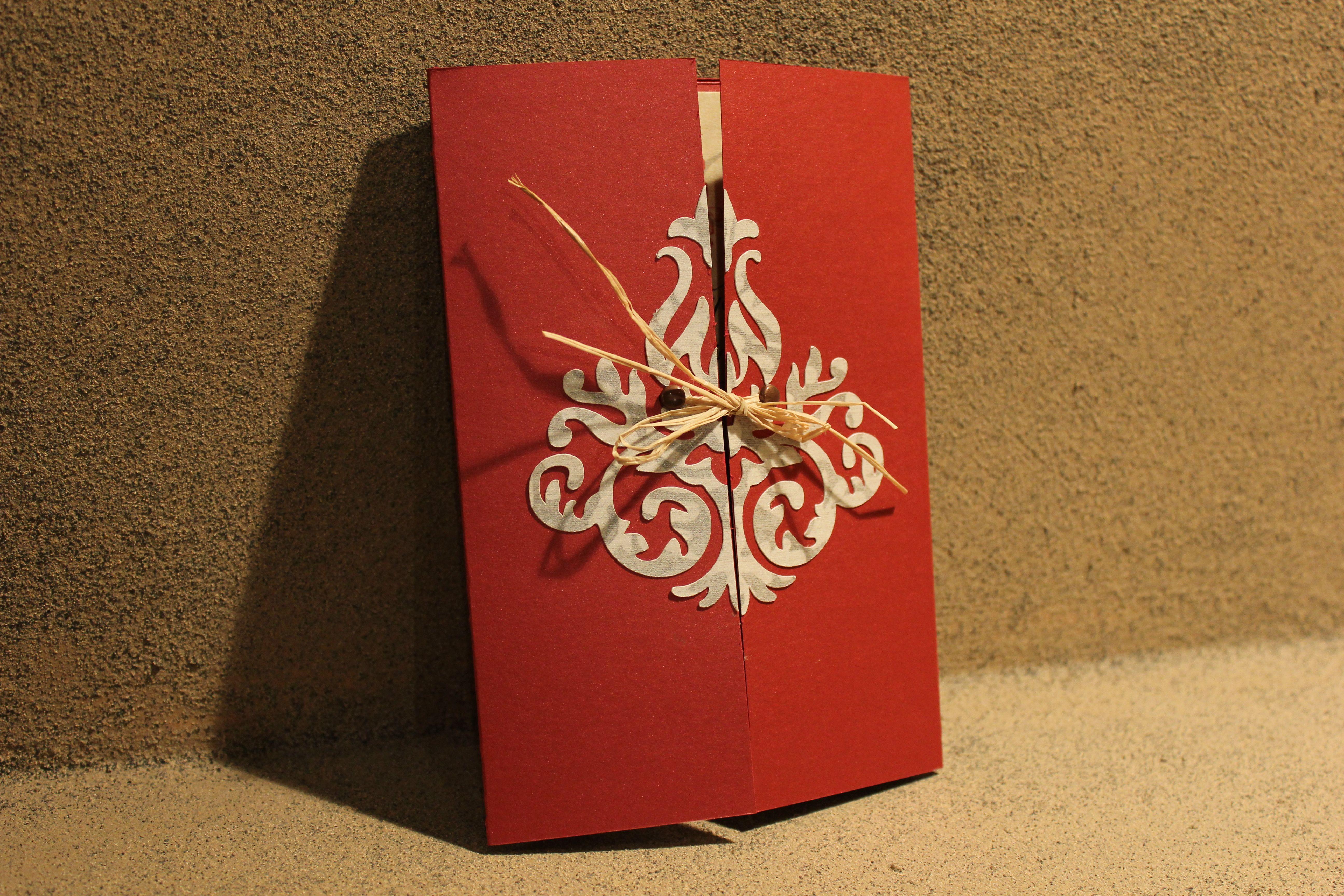 damask wedding invitation; color scheme- red, black, and beige email ...