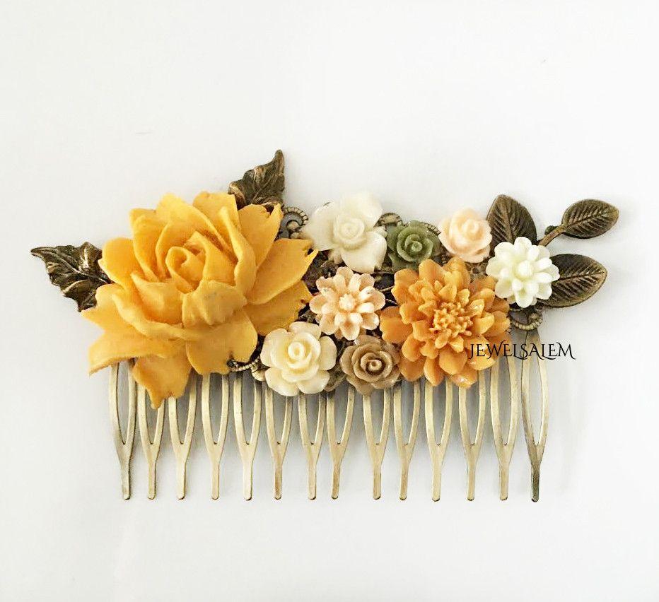 yellow bridal hair accessories | wedding flowers | wedding