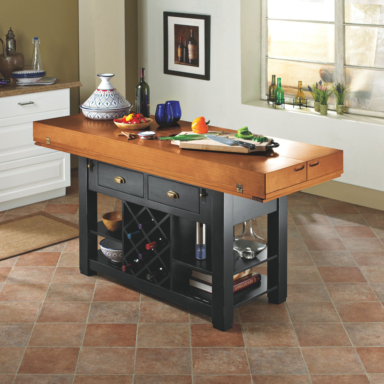 Small Kitchen Prep Tables With Wine Storage Kitchen Work Tables
