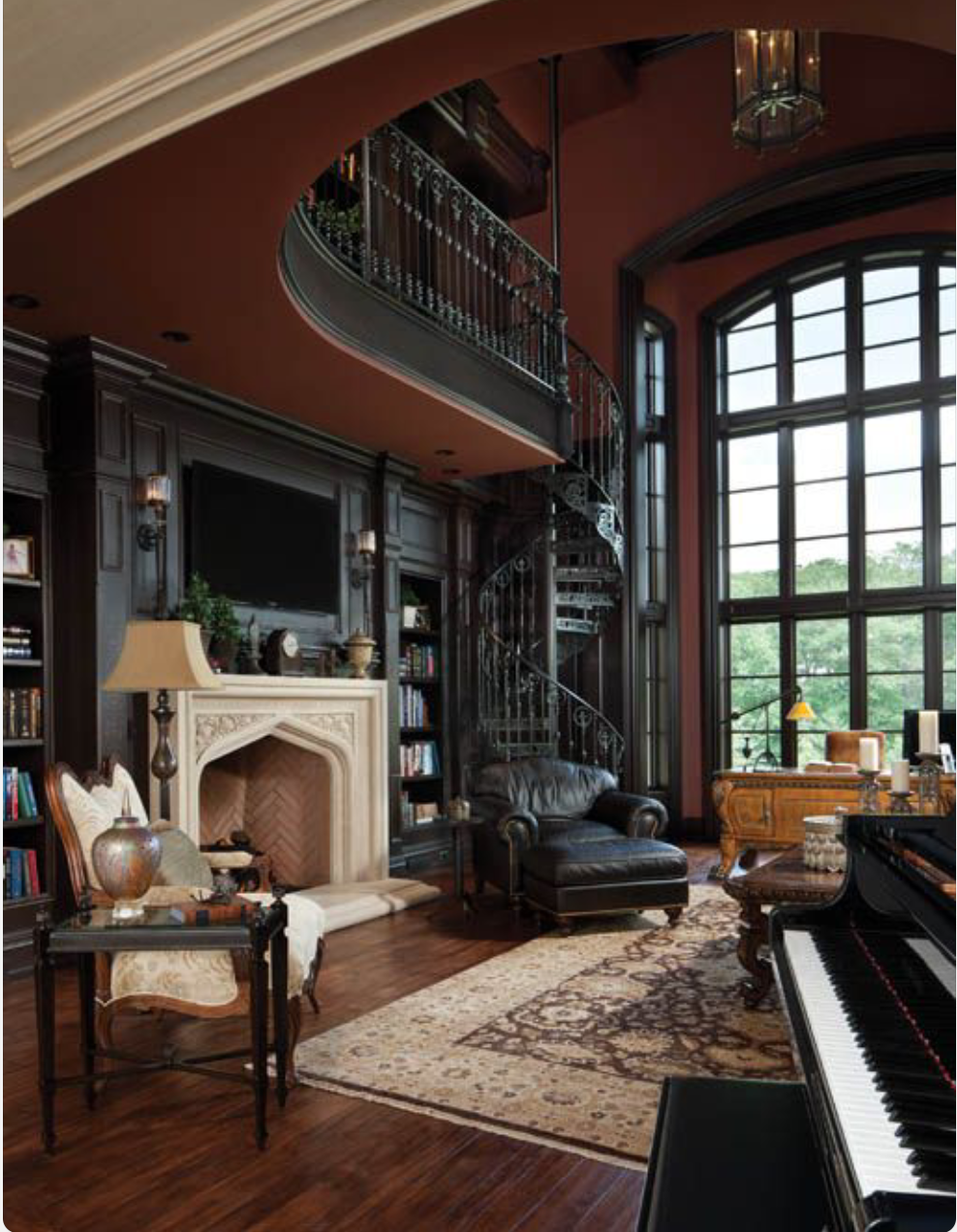 Home Library ~ 2 Story With Spiral Staircase, Fireplace, And Large Arched  Window