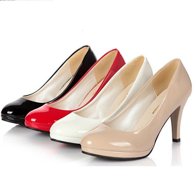 2014 women pumps creepers professional Office work shoes small leather  black wedding shoes woman high heels