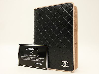 CHANEL CC Authentic Leather Black Agenda Diary cover Auth