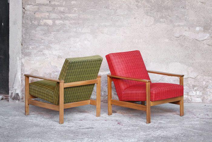paire fauteuil vintage tissus vert et rouge accoudoir. Black Bedroom Furniture Sets. Home Design Ideas