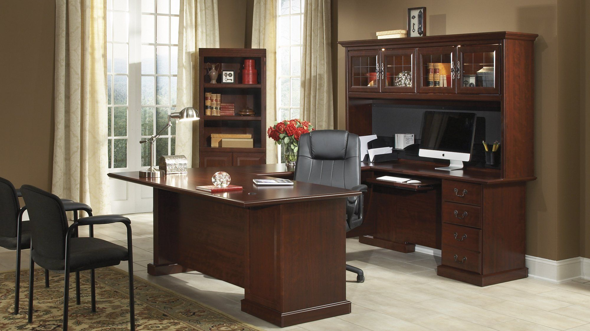 Sauder 109843 Heritage Hill Classic Cherry 4 Pcs Office Set Home