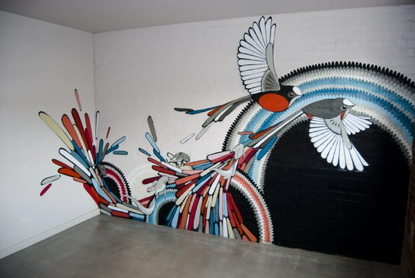 This would make a beautiful wall modern birds wall murals for Mural painting ideas