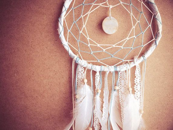 Large Dream Catcher - Light Dreams - With Round Gemstone, White Swan Feathers, Textiles and Laces - Boho Home Decor, Nursery Mobile on Etsy, £28.57