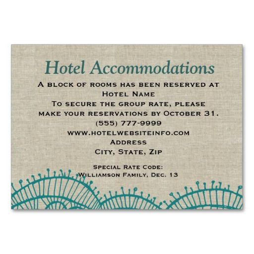 Wedding Invitation Insert Wording: Linen Teal Lace Hotel Accommodation Insert Cards