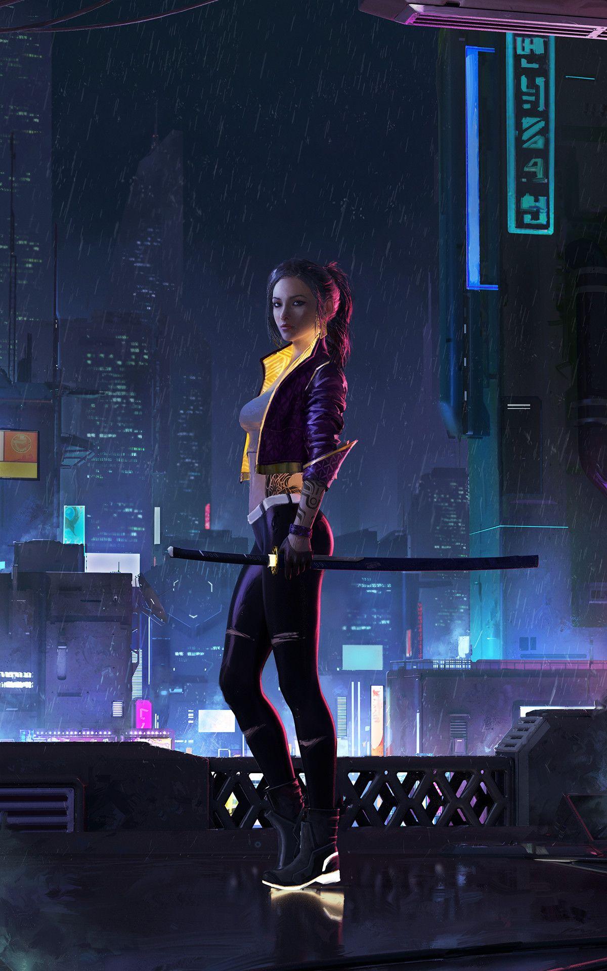 cyberpunk cyberpunkgirl future katana sword art