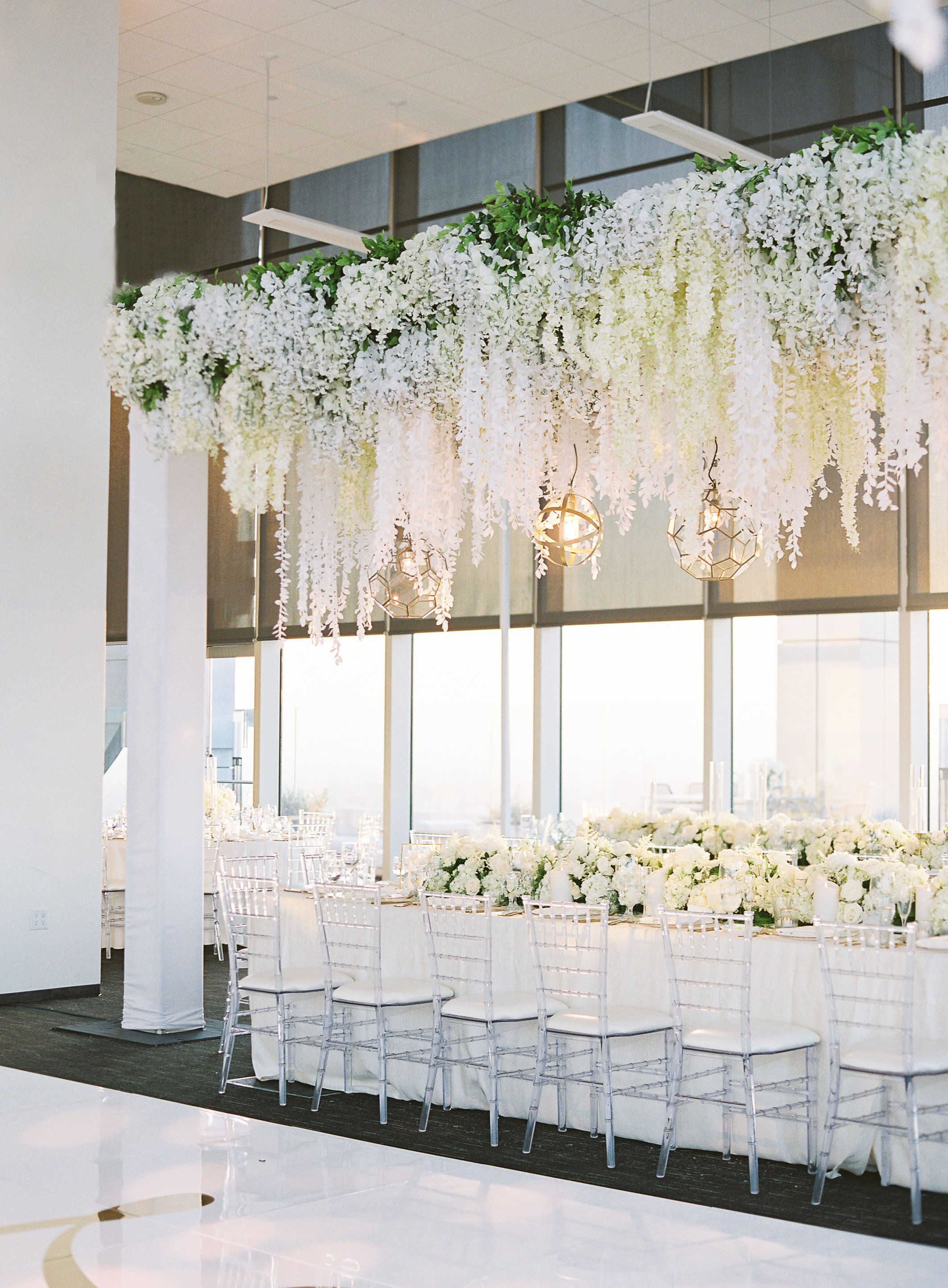 South Park Center Los Angeles Wedding Taelor Dylan White Wedding Decorations Wedding Ceiling Decorations Wedding Ceiling