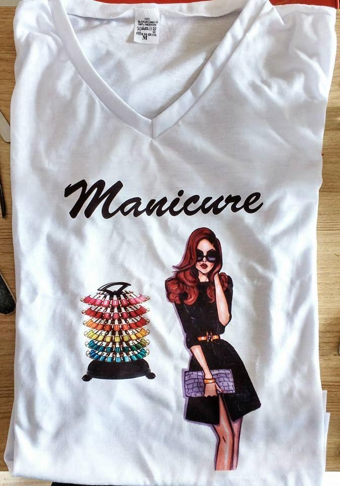 Camiseta Manicure personalizável com seu nome e ou telefone ... c25114e2533b2