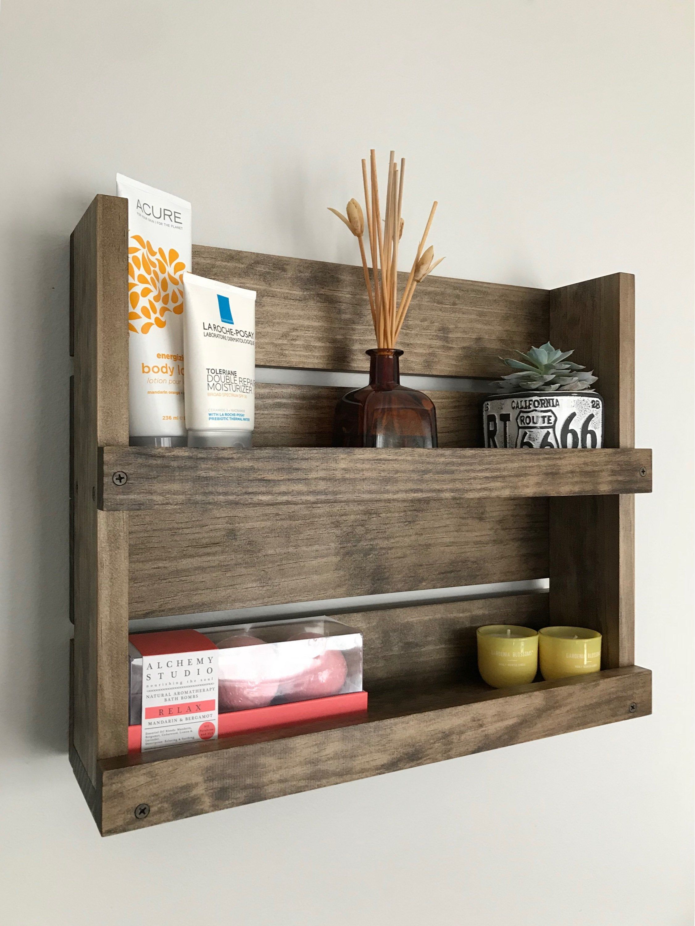 Bathroom Wood Shelf Rustic Organizer Bathroom Wall Mounted Shelf