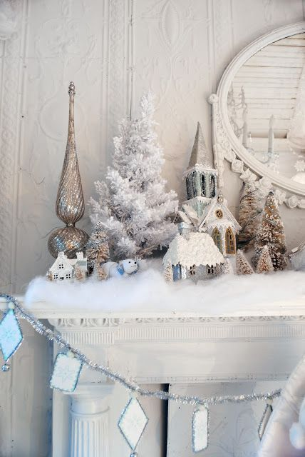 Fake snow sprinkled on the fireplace works creates a winter wonderland in your home!