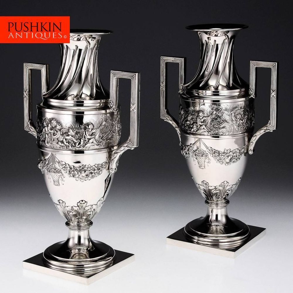 ANTIQUE 20thC GERMAN SOLID SILVER PAIR OF DECORATIVE TWIN