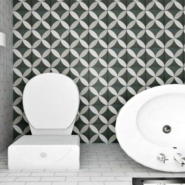 Somertile 7 75x7 75 Inch Thirties Petal Ceramic Floor And Wall Tile 25 Tiles 11 Sqft Ceramic Floor Wall Tiles Floor And Wall Tile