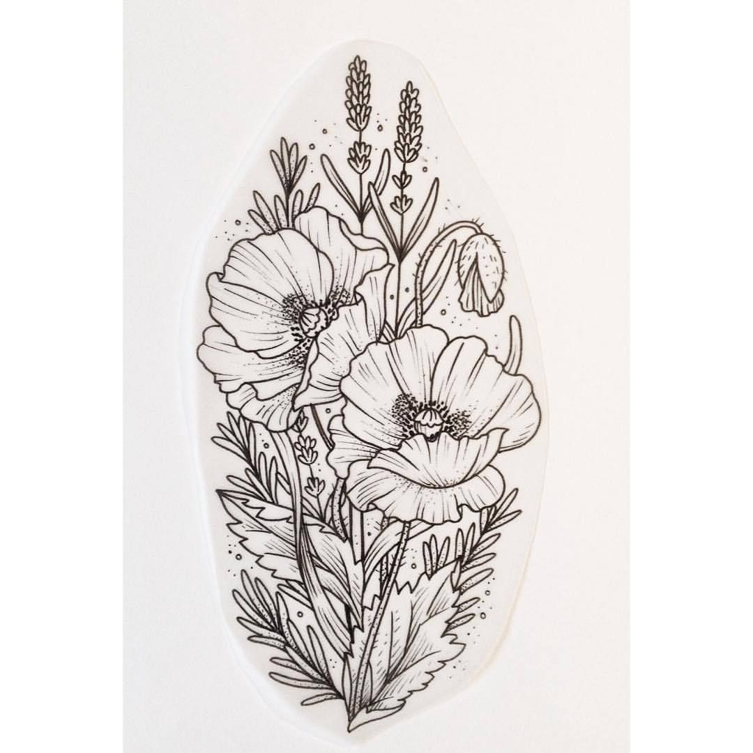 Tattoo Design Questions: Poppies, Lavender And Rosemary Available For Tattoo. For