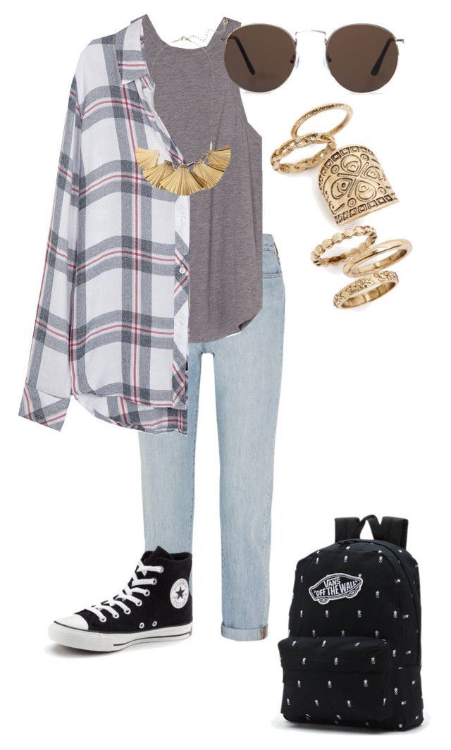 """""""school"""" by emma-martin123 ❤ liked on Polyvore featuring Madewell, Rails, Converse, Vans, MANGO and Topshop"""