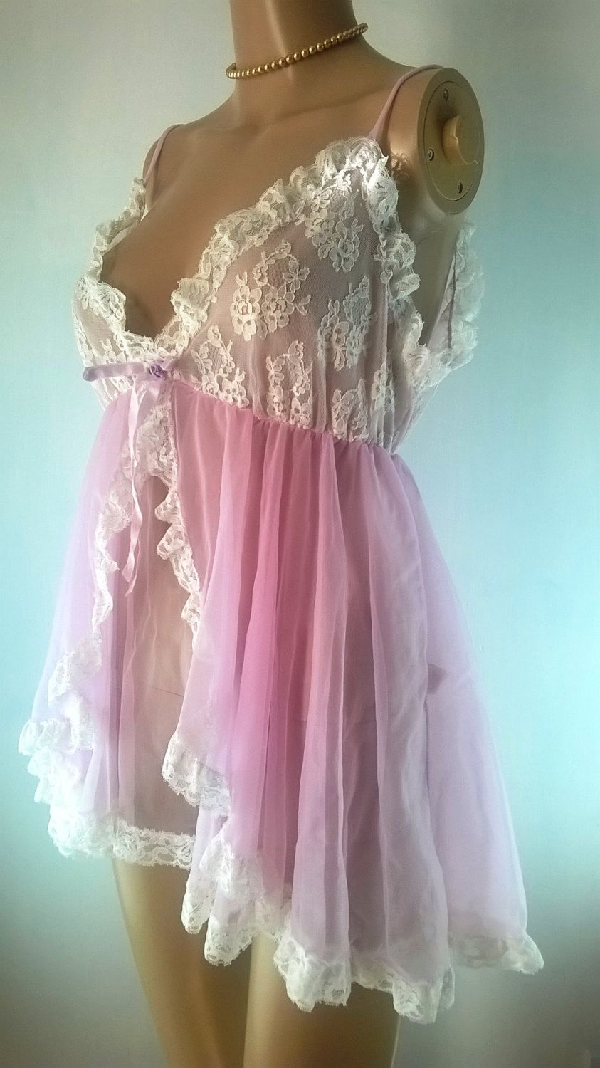 Vintage Babydoll Negligee 1960s Pink Chiffon Nylon Nightie Vintage Lingerie  Size Small Tosca Made In California 60s Pink Lace Nightgown by ... 30411d7e3