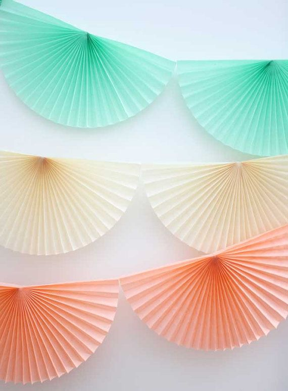 Ivory tissue paper pinwheel garland  10 feet  Ivory fan