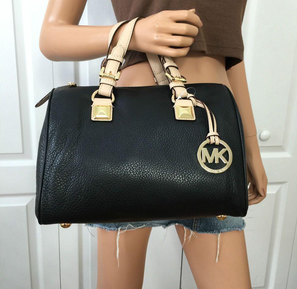 417c9a059b9bc9 Michael Kors MK Signature Black Leather Medium Satchel Grayson Tote Handbag  Bag #MichaelKors #ShoulderBag