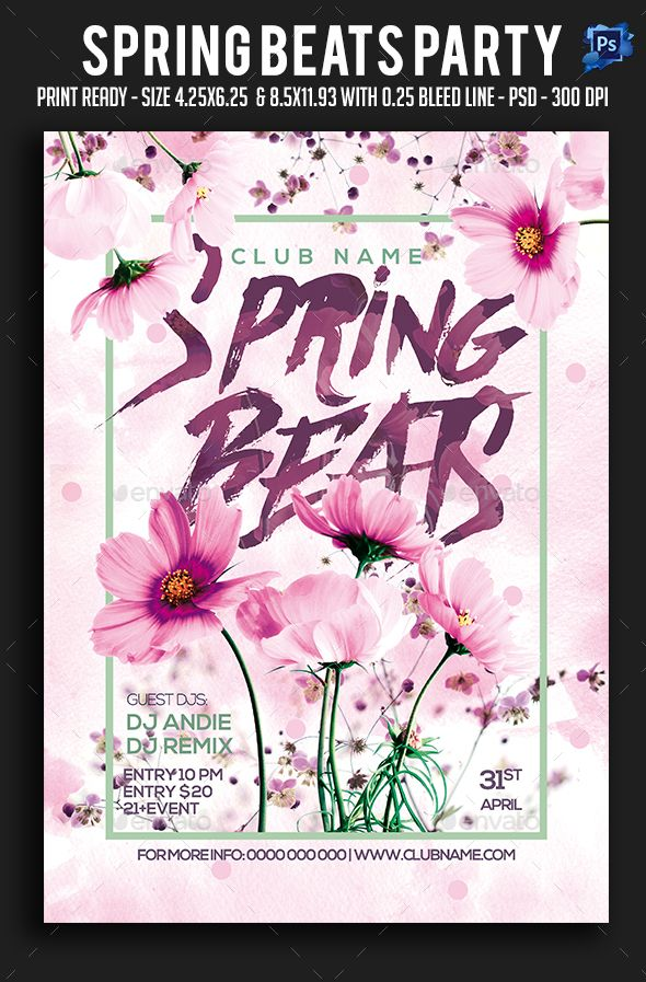 Spring Beats Party Flyer  Photoshop Psd Spring Party Summer