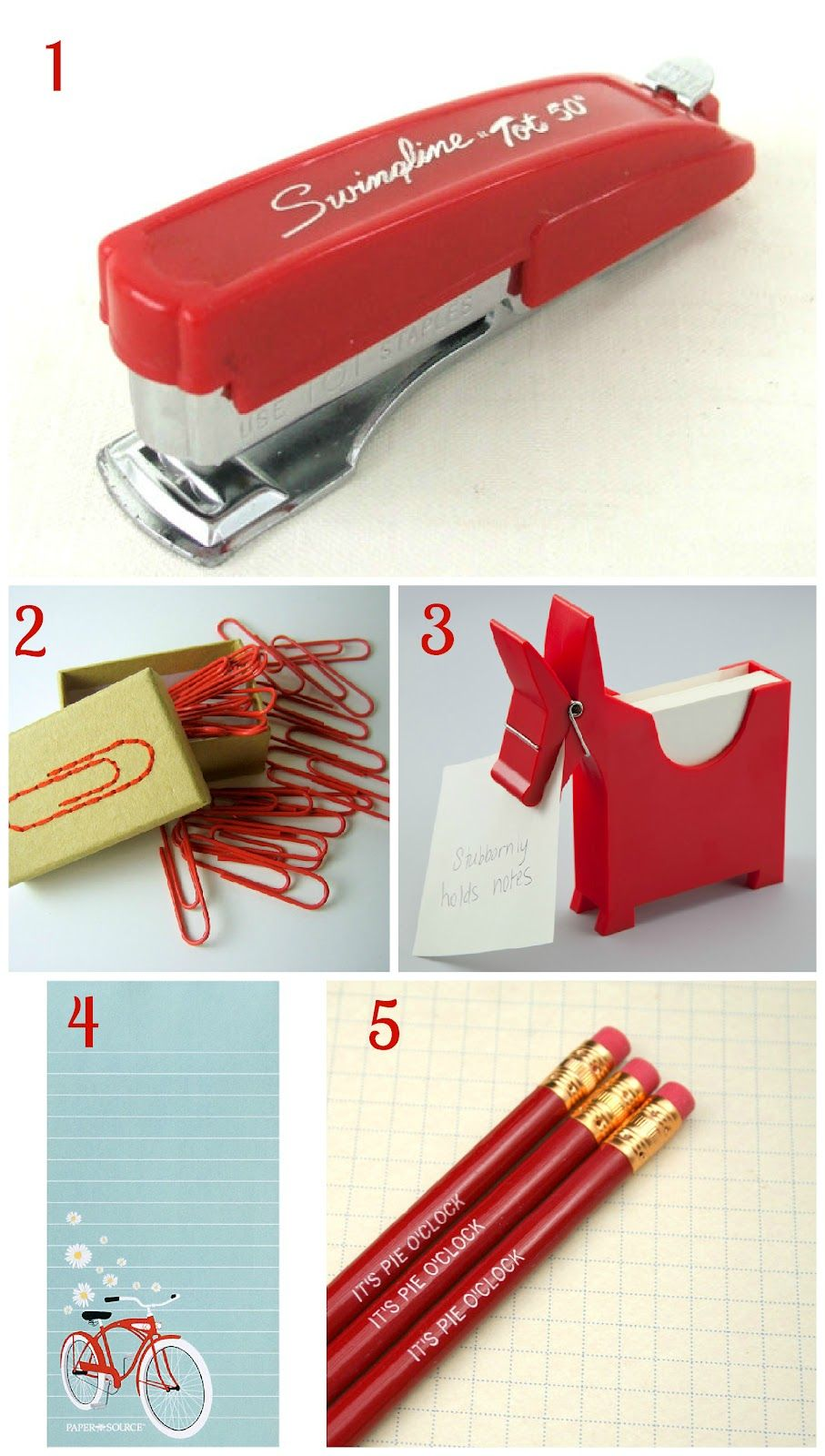 bright red office supplies