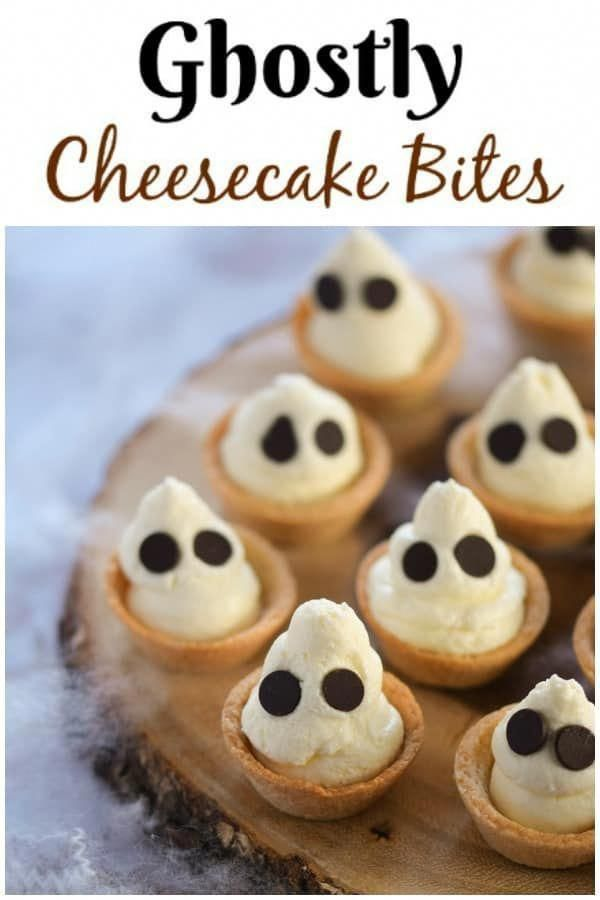 Cute Ghostly mini cheesecake bites recipe - a fun and easy Halloween dessert for Halloween party food   #EatsAmazing #Halloween #HalloweenFood #partyfood #halloweenparty #cheesecakes #funfood #foodart #easyrecipe #dessertfoodrecipes #cheesecakedessertseasy