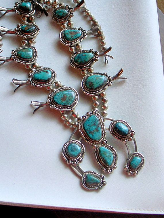 f9e39326a541 Vintage Navajo Squash Blossom Necklace - Rare Red Mountain Turquoise ...