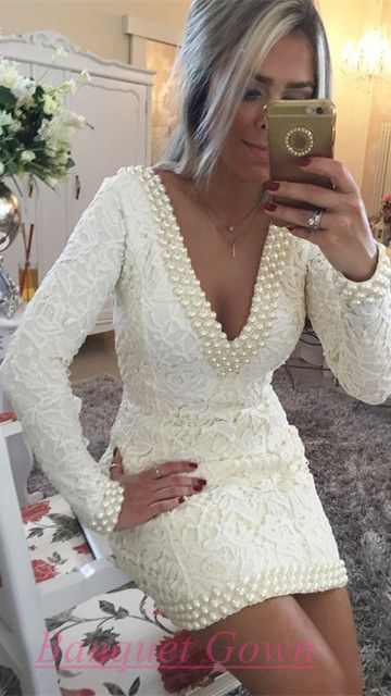 2016 Short Sheath V-Neckline Lace Homecoming Dress Long Sleeves Backless White Cocktail Dresses For Teens