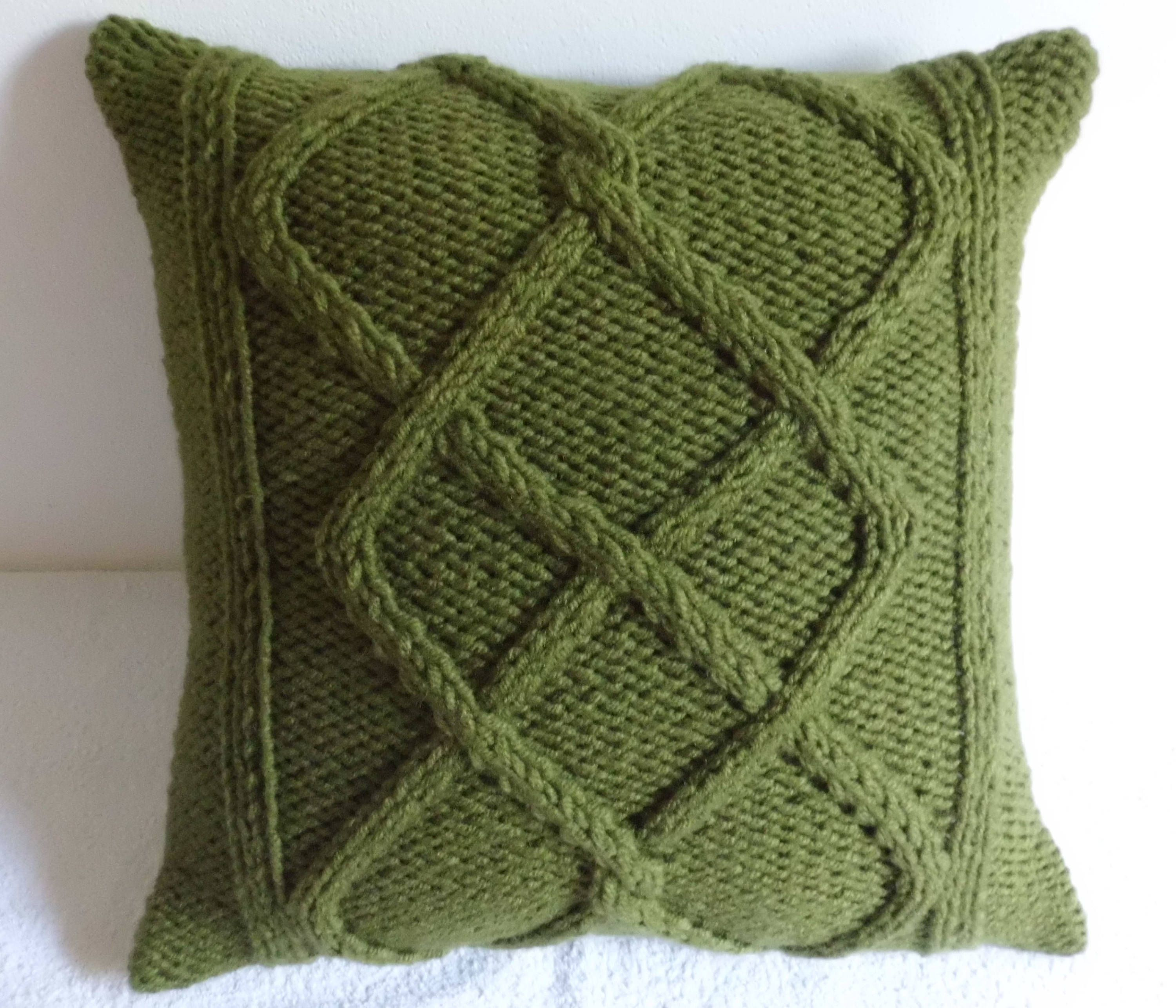 Olive Green Chunky Cable Knit Pillow Cover, Throw Pillow, Chartreuse ...