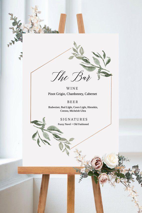 Greenery Bar Menu, Bar Sign, Printable Drink Menu, Bar Menu Template, Instant Download, Templett, PDF Download, Wedding Sign, Wedding Decor