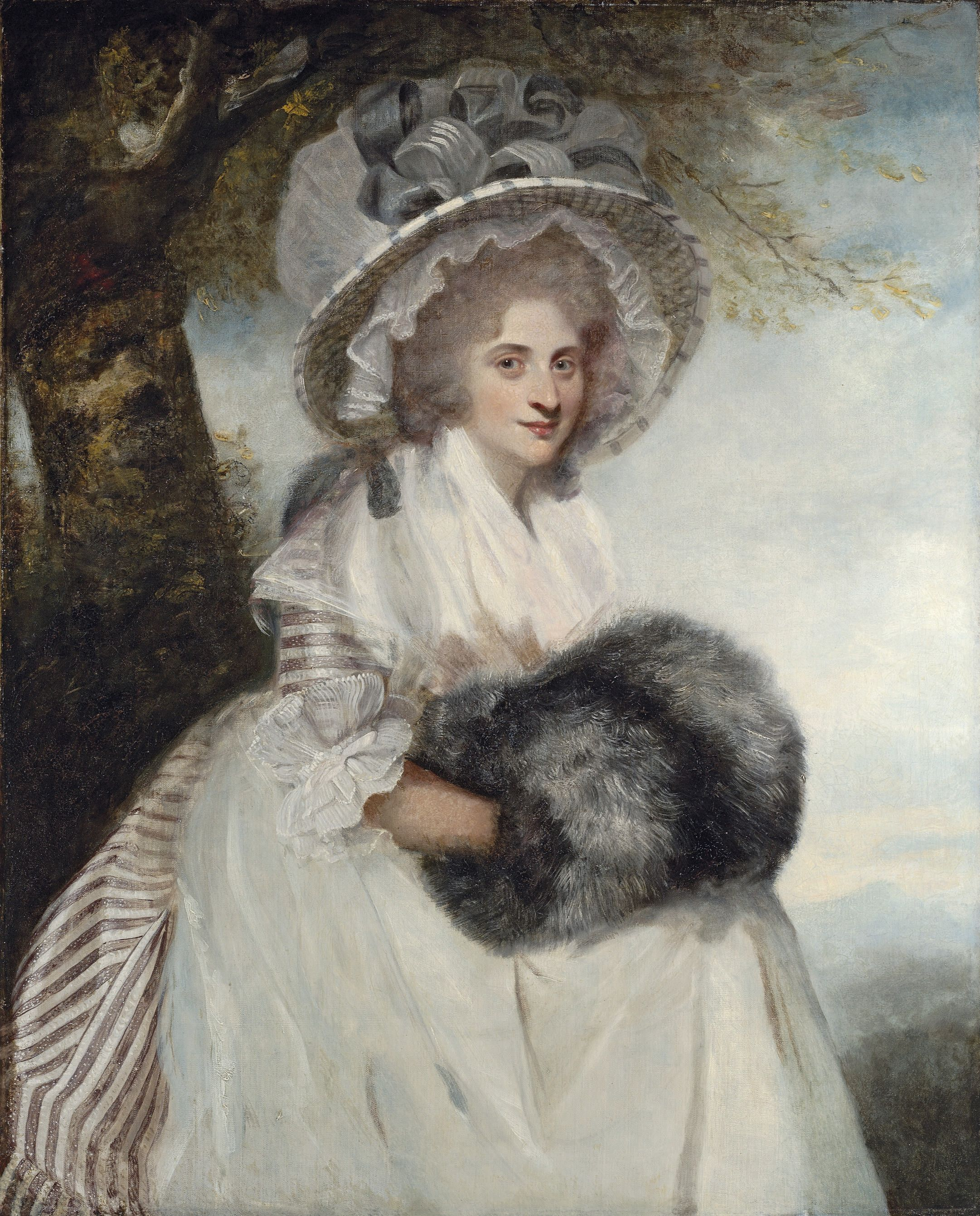 Portrait of Mrs Wells, three-quarter-length, seated, in a striped dress and straw hat by Sir Joshua Reynolds via Christies