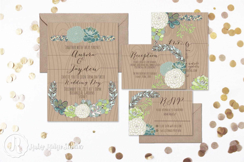Sweet Succulent Wedding Invitation Suite by RubyRidgeStudios
