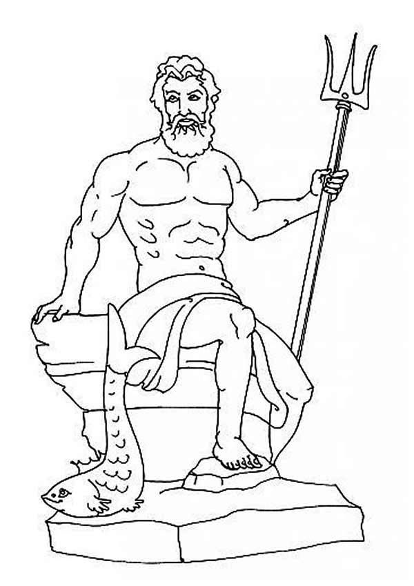 god poseidon on his throne from greek mythology coloring pagejpg 600849 12 pinterest