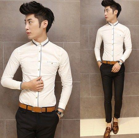 Man 2014 Trendy Splicing Fancy Shirt Asian Size Stylish Slim Shirt Mens Clothes Online Shopping $26.00
