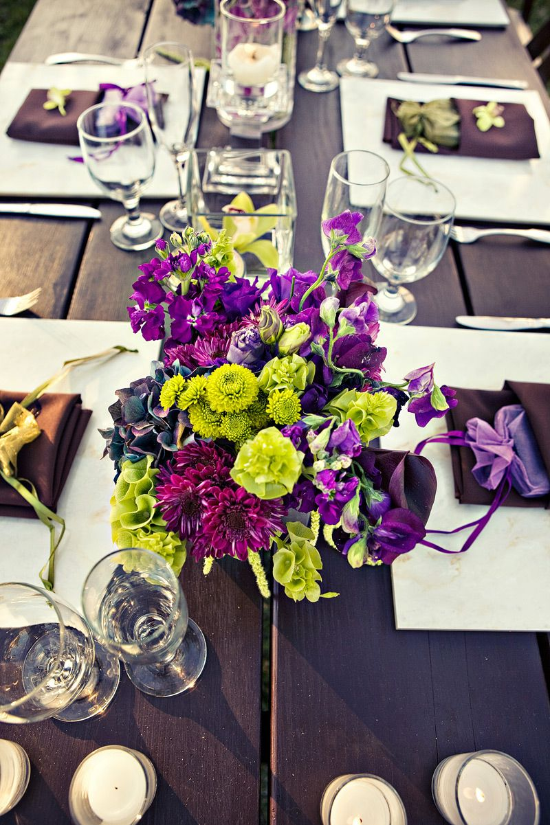 It Is Really Fresh To See A Purple And Green Wedding Centerpiece On Table