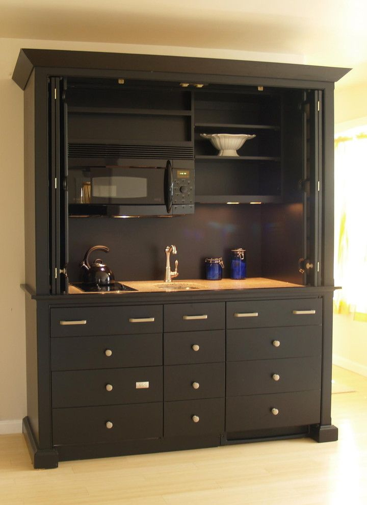 Marvelous All In One Kitchen Units Tea Kettle Microwave Compact Kitchen Cabinet Dark  Painted Furniture Drawers Open