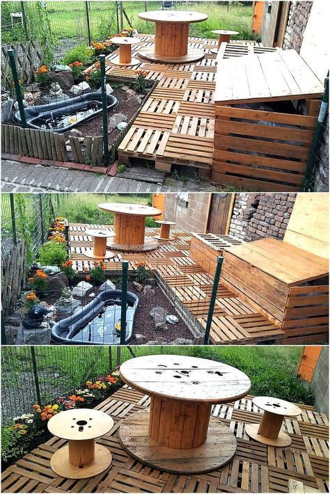 recycled wood pallet garden terrace My Home - Backyard Haven