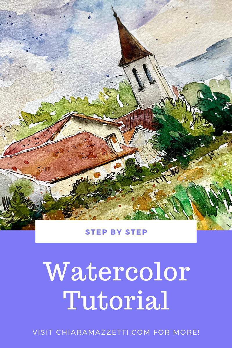 New tutorial step by step on my blog!! Take your brushes and colors and let's have some fun together ❤️ Link in bio or go to chiaramazzetti.com • • • • •  #watercolortutorial #artblog #watercolorsketch #watercolorillustration #watercolorpainting #drawing#sketch#urbansketch#urbansketching#urban#architektura#art#artwork#illust#painting #ink#landscape#staysafestayhome