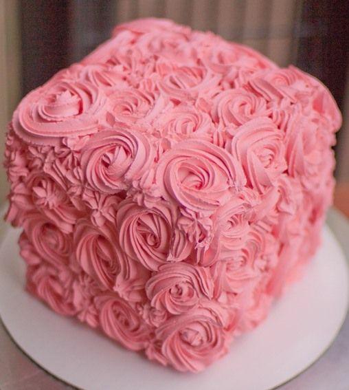 8 Square Rosette Cake Rose Swirl Cake Rosette Cake Cupcake Cakes