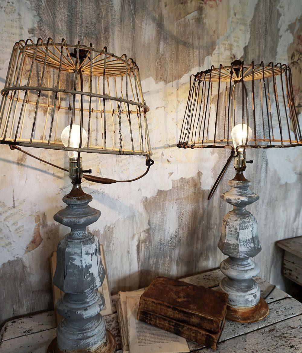 Rustic farmhouse table lamps rusted basket lampshades