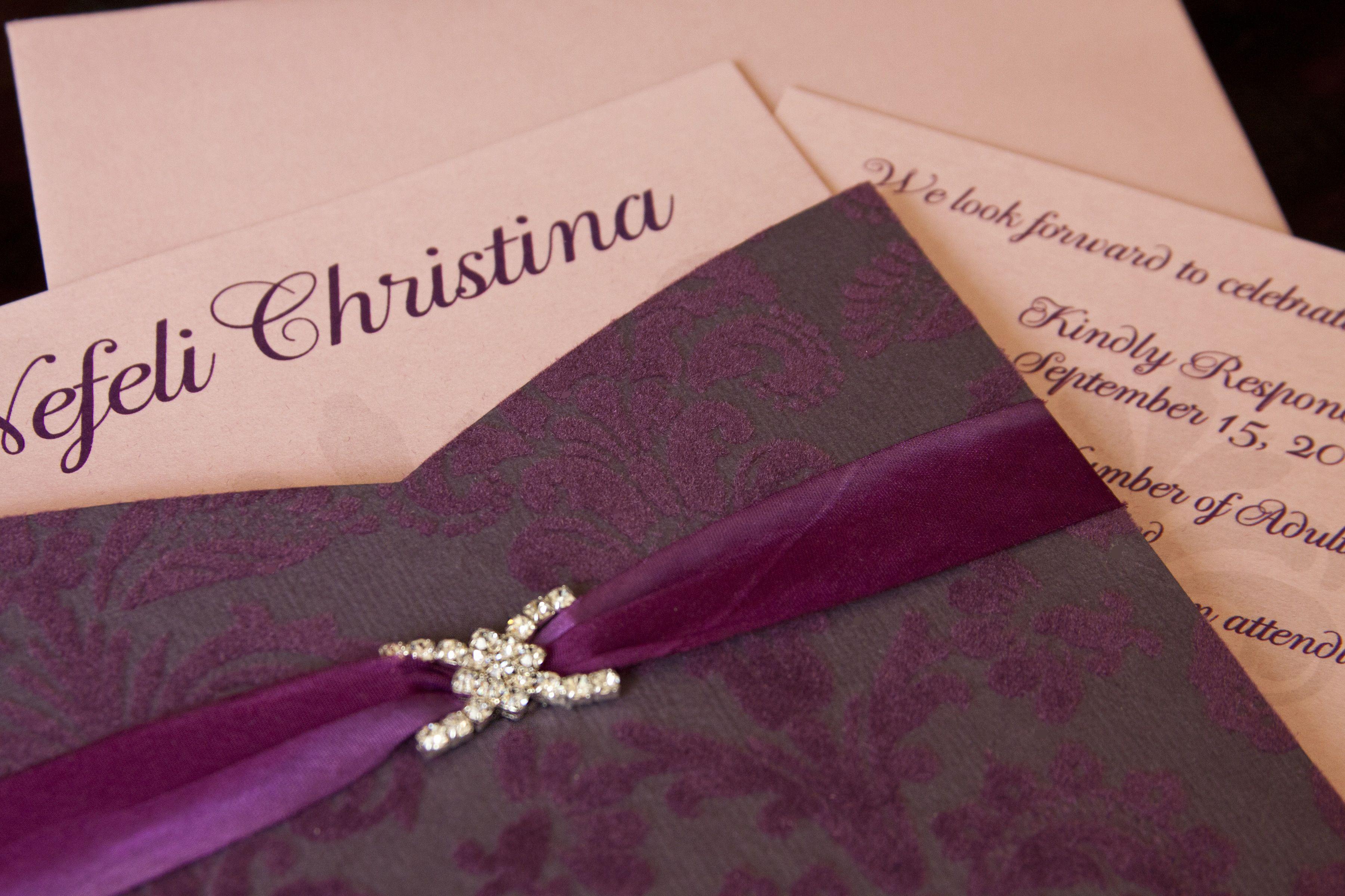 pocket wedding invites australia%0A cabernet velvet damask pocket with handpainted silk ribbon  u     crystal buckle  front detail  pink  u        Invitation CardsWedding