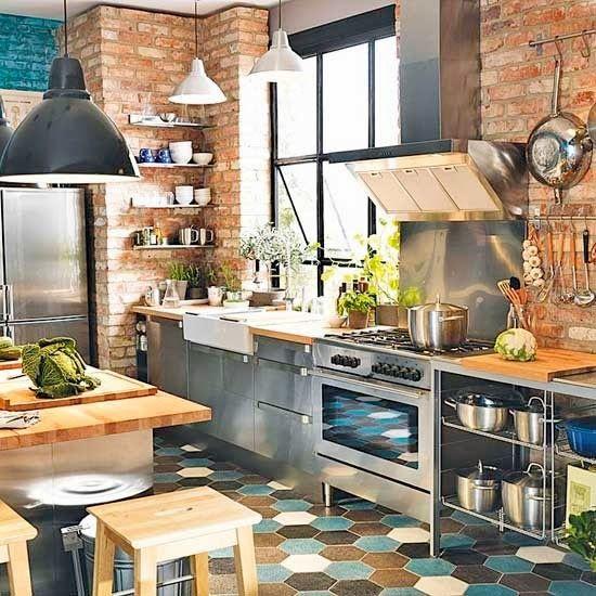 Cuisine IndustrielleStyle Carrelage Mur De Briques Designs - Carrelage brique cuisine pour idees de deco de cuisine