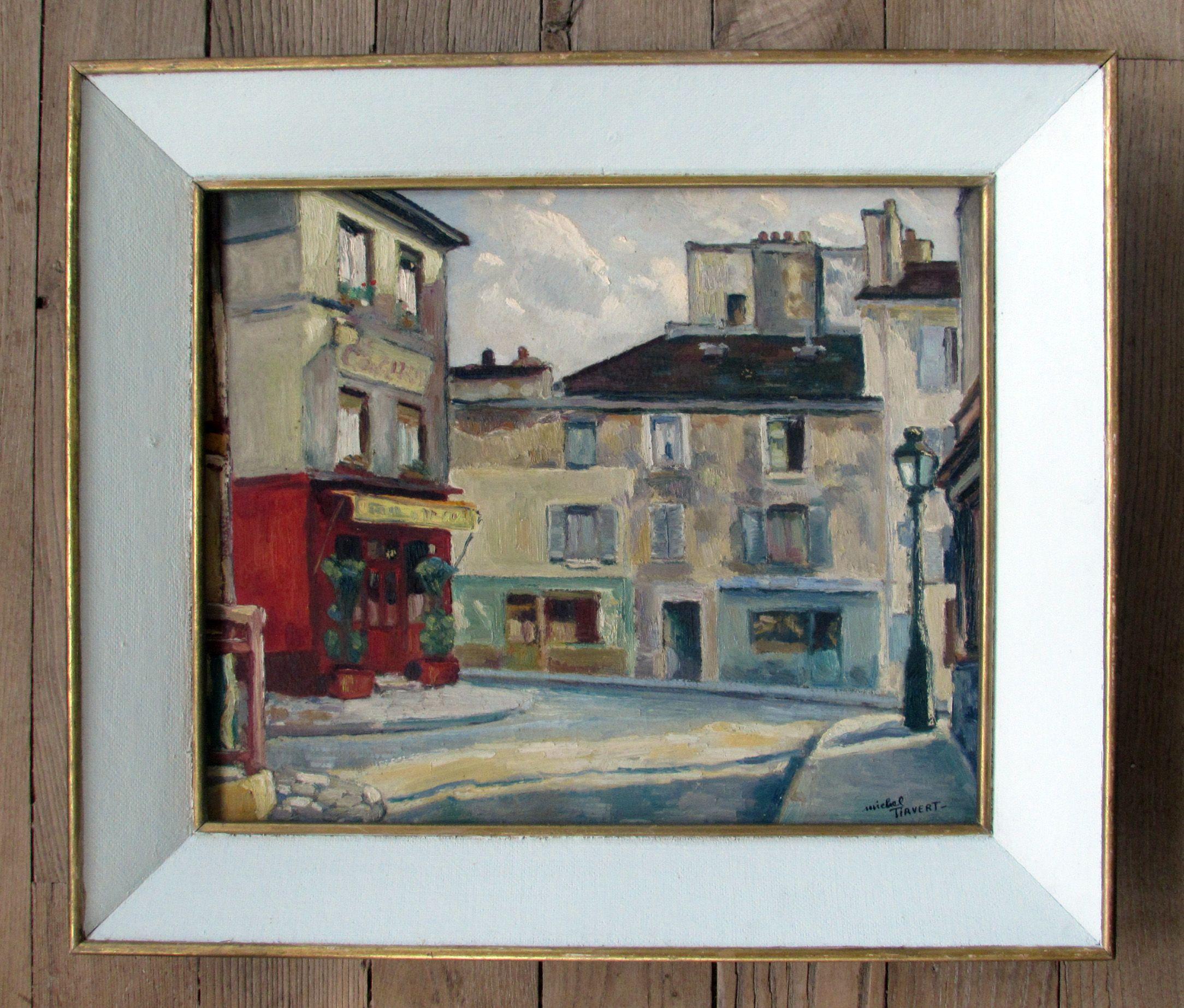 Los pequeños hallazgos de mercadillo. Le Consulat. Óleo sobre lienzo por Michel Tirvert. Vieux Montmartre, París